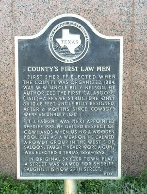 County's First Law Men Marker image. Click for full size.