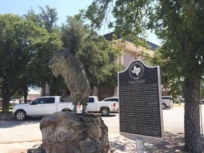 Statue of bison and marker. image. Click for full size.