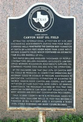 Scurry County's Canyon Reef Oil Field Marker image. Click for full size.