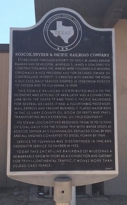 Roscoe, Snyder & Pacific Railroad Company Marker image. Click for full size.