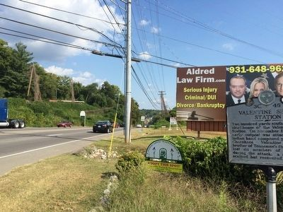 View of marker looking south on Providence Boulevard. image. Click for full size.