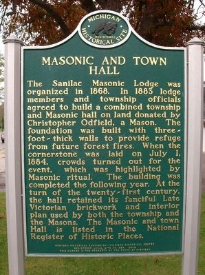 Masonic and Town Hall Marker image. Click for full size.