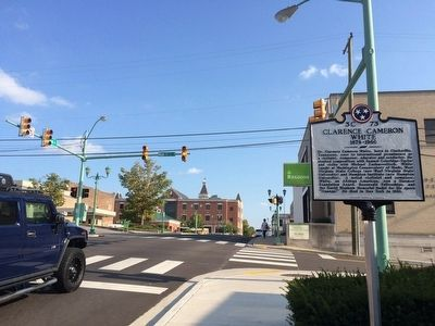 View of marker looking south on 2nd Street. image. Click for full size.