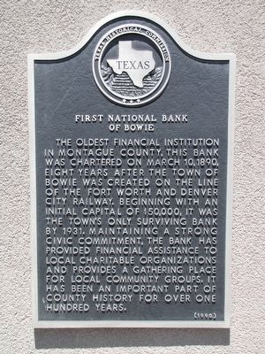 First National Bank of Bowie Texas Marker image. Click for full size.
