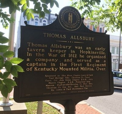 Lewis & Clark in Kentucky Marker - Thomas Allsbury (Side 2) image. Click for full size.