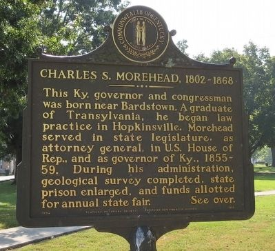 Charles S. Morehead, 1802-1868 Marker (Side 1) image. Click for full size.