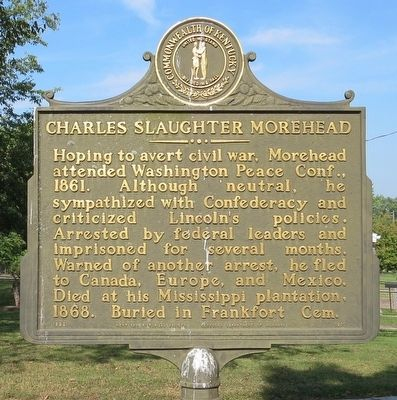 Charles S. Morehead, 1802-1868 Marker (Side 2) image. Click for full size.