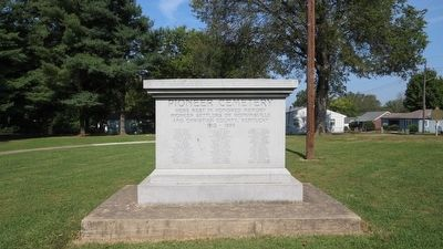 Marker shown near Pioneer Cemetery monument listing of town pioneers. image. Click for full size.