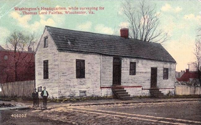 <i>Washington's Headquarters while surveying for Thomas Lord Fairfax, Winchester, Va.</i> image. Click for full size.