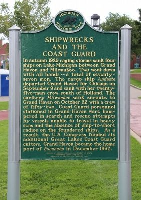 Shipwrecks and the Coast Guard / The Escanaba Marker image. Click for full size.