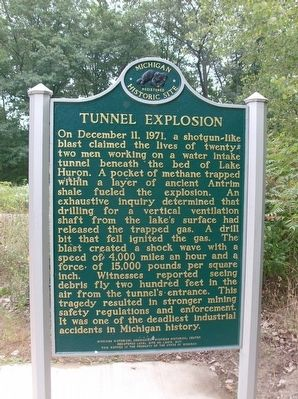 Lake Huron Water Supply Project/Tunnel Explosion Marker image. Click for full size.