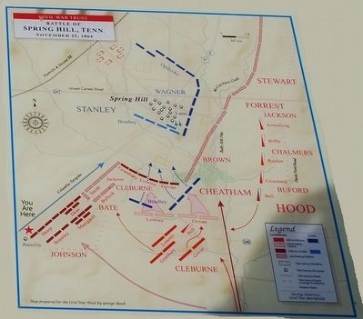 The Battle of Spring Hill Marker Map image. Click for full size.