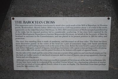 Barochan Cross at Paisley Abbey Interpretive sign image. Click for full size.