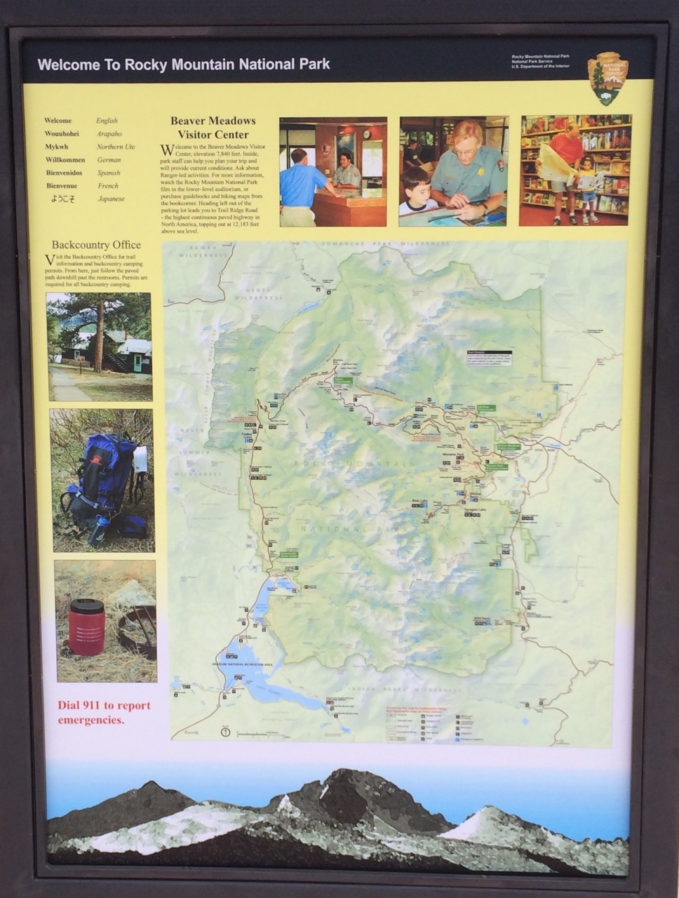 Marker & map describing Rocky Mountain National Park