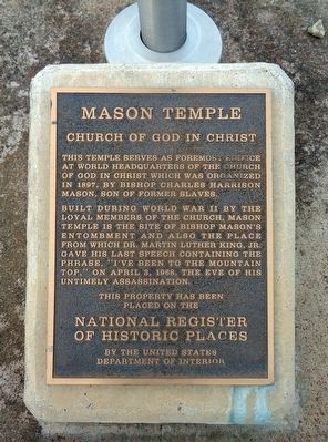 Mason Temple Marker image. Click for full size.