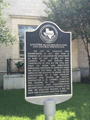 Longview Municipal Building and Central Fire Station Marker image. Click for full size.