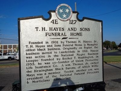 T. H. Hayes and Sons Funeral Home Marker image. Click for full size.