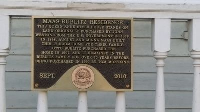 Maas-Bublitz Residence Marker image. Click for full size.