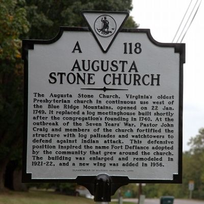 Augusta Stone Church Marker image. Click for full size.