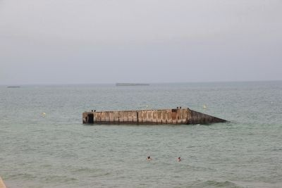 Remains of 'Mulberry B' remain off the coast. image. Click for full size.
