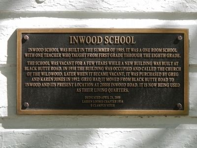Inwood School Marker image. Click for full size.
