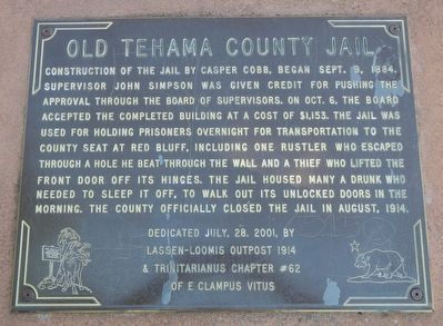 Old Tehama County Jail Marker image. Click for full size.