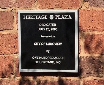 Heritage Plaza dedication plaque. image. Click for full size.