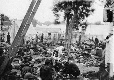 <i>Savage Station, Virginia. Union field hospital after the battle of June 27</i> image. Click for full size.