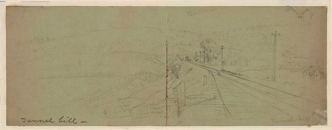 Waud, Alfred R. (Alfred Rudolph) Sketch of Tunnel Hill, Georgia image. Click for full size.
