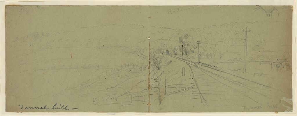 Waud, Alfred R. (Alfred Rudolph) Sketch of Tunnel Hill, Georgia