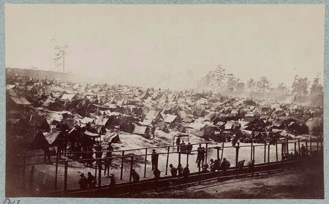 Andersonville Prison, Ga., August 17, 1864. South east view of stockade image. Click for full size.