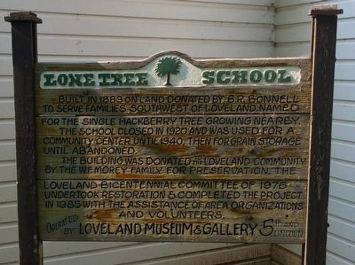 Lone Tree School Marker image. Click for full size.