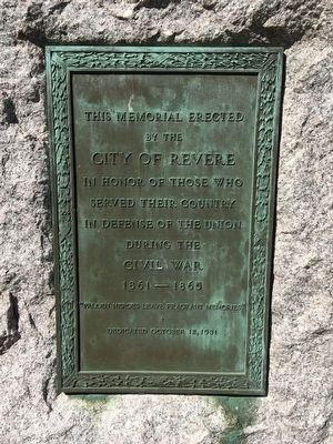 This Memorial Erected by the City of Revere Marker image. Click for full size.