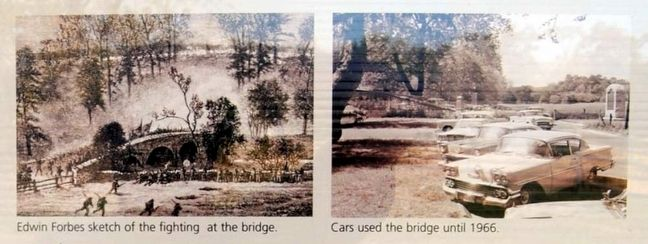 The Burnside Bridge Marker<br>Historic Photos of the Bridge image. Click for full size.
