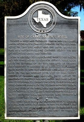 Site of Carry Nation's Hotel Marker image. Click for full size.