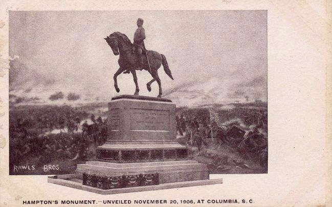 <i>Hampton&#39;s Monument -- Unveiled November 20, 1906, at Columbia, S.C.</i> image. Click for full size.