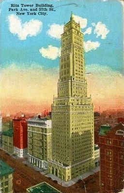 <i>Ritz Tower Building, Park Ave. and 57th St., New York City.</i> image. Click for full size.