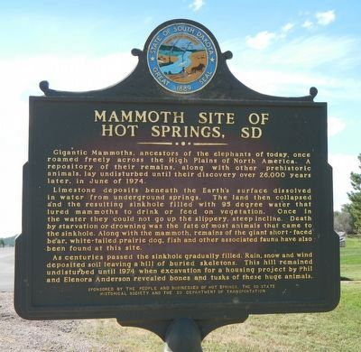 The Mammoth Site of Hot Springs, SD Marker image. Click for full size.