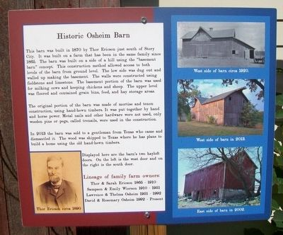 Historic Osheim Barn Marker image. Click for full size.