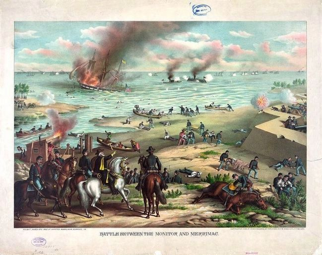 <i>Battle between the Monitor and Merrimac--fought March 9th 1862 at Hampton Roads...</i> image. Click for full size.