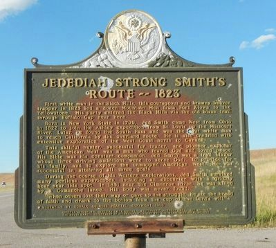Jedediah Strong Smith's Route - - 1823 Marker image. Click for full size.
