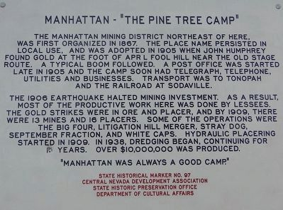 "Manhattan - ""The Pine Tree Camp"" Marker image. Click for full size."