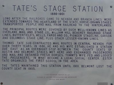 Tate's Stage Station Marker image. Click for full size.