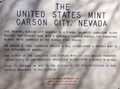 The United States Mint Carson City, Nevada Marker image. Click for full size.