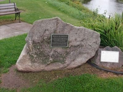 Croswell's Swinging Bridge Marker and Rebecca's & Goodfellows Plaque image. Click for full size.