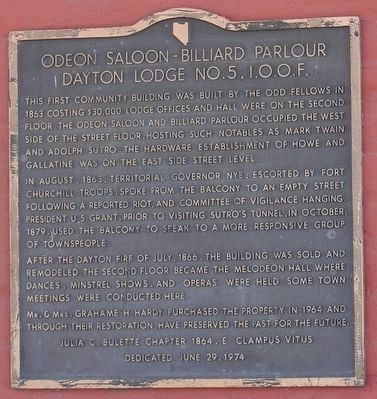 Odeon Saloon - Billiard Parlour Dayton Lodge No. 5 I.O.O.F. Marker image. Click for full size.