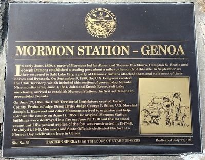 Mormon Station - Genoa Marker image. Click for full size.
