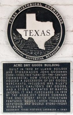 Acme Dry Goods Building Texas Historical Marker image. Click for full size.