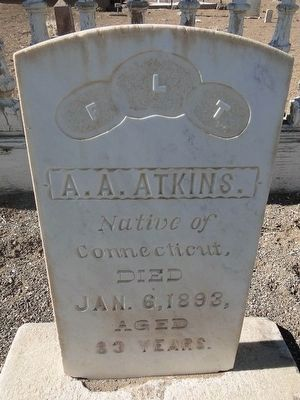 A. A. Atkins Headstone - Died 1893 image. Click for full size.