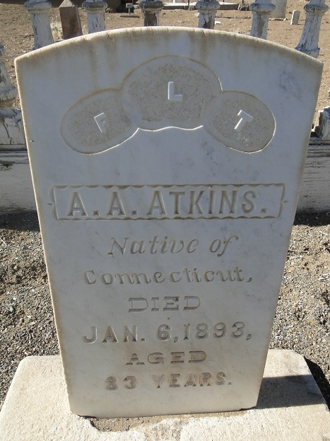 A. A. Atkins Headstone - Died 1893